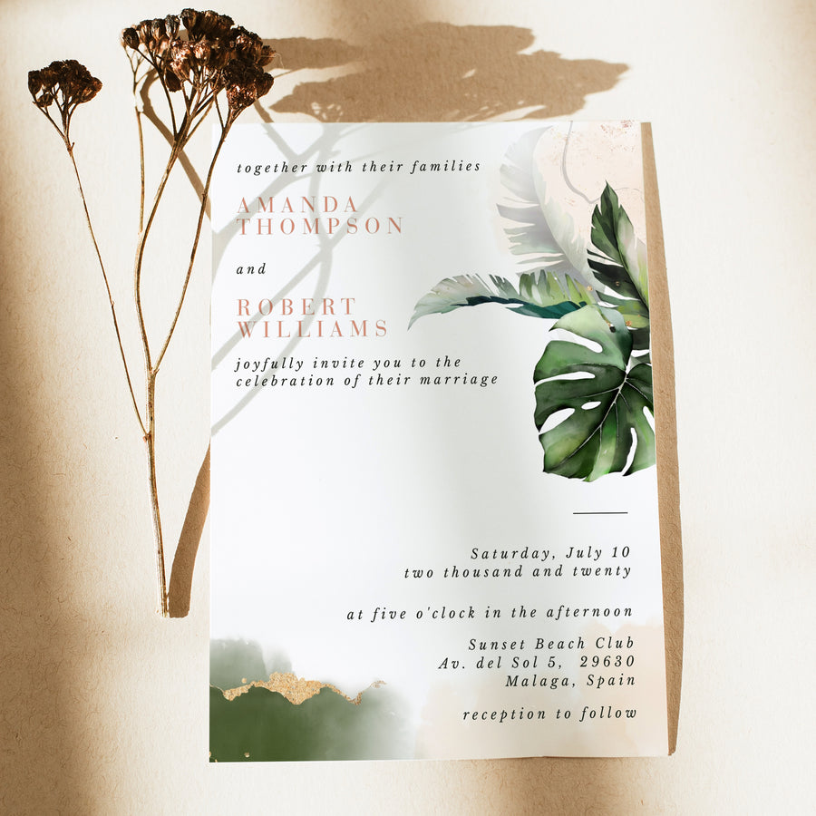 Tropical Wedding Invitation Card Template