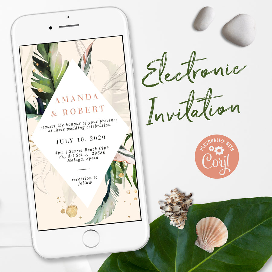 Tropical Theme Electronic Wedding Invitation