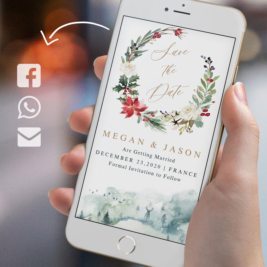 Christmas Themed Wedding Save the Date Evite