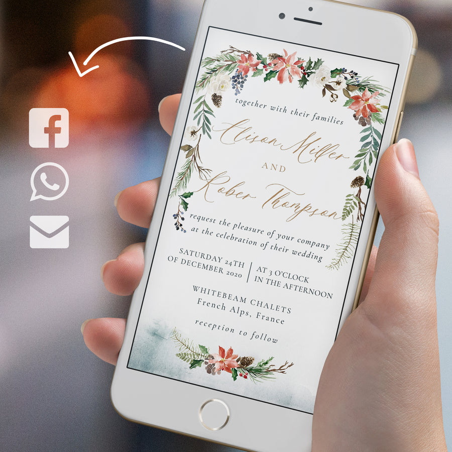 Christmas Themed Wedding Invitation Evite