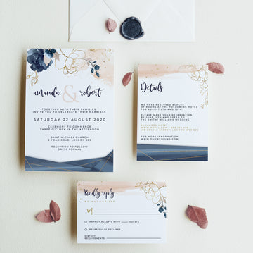 Blush Navy Wedding Invitation Set Template
