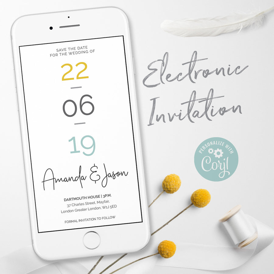 Modern Electronic Save the Date