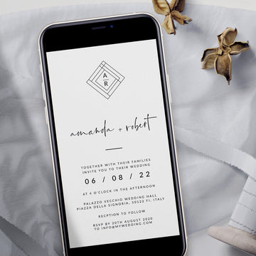 Giulia | Geometric Modern Electronic Wedding Invitation