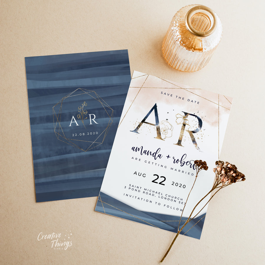 Blush Navy Save the Date Card Template