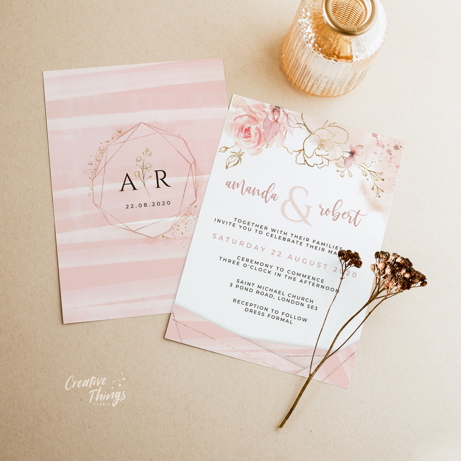 Rose Gold & Blush Wedding Invitation Set Template