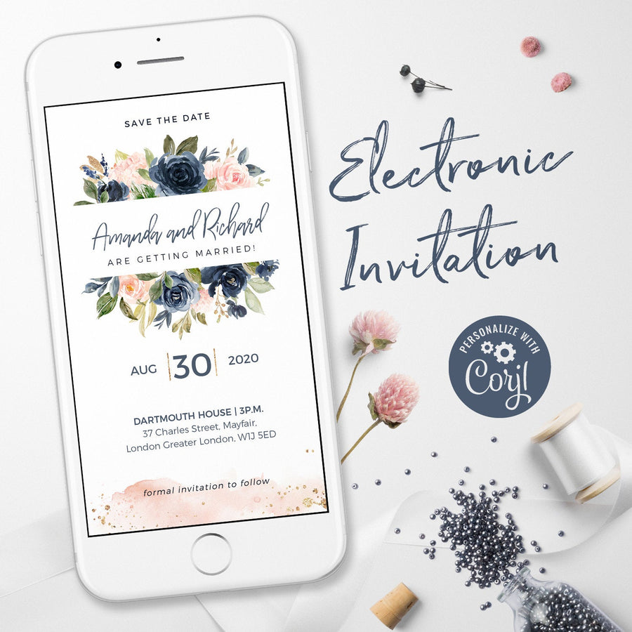 Floral Blush & Navy Electronic Save the Date Invitation