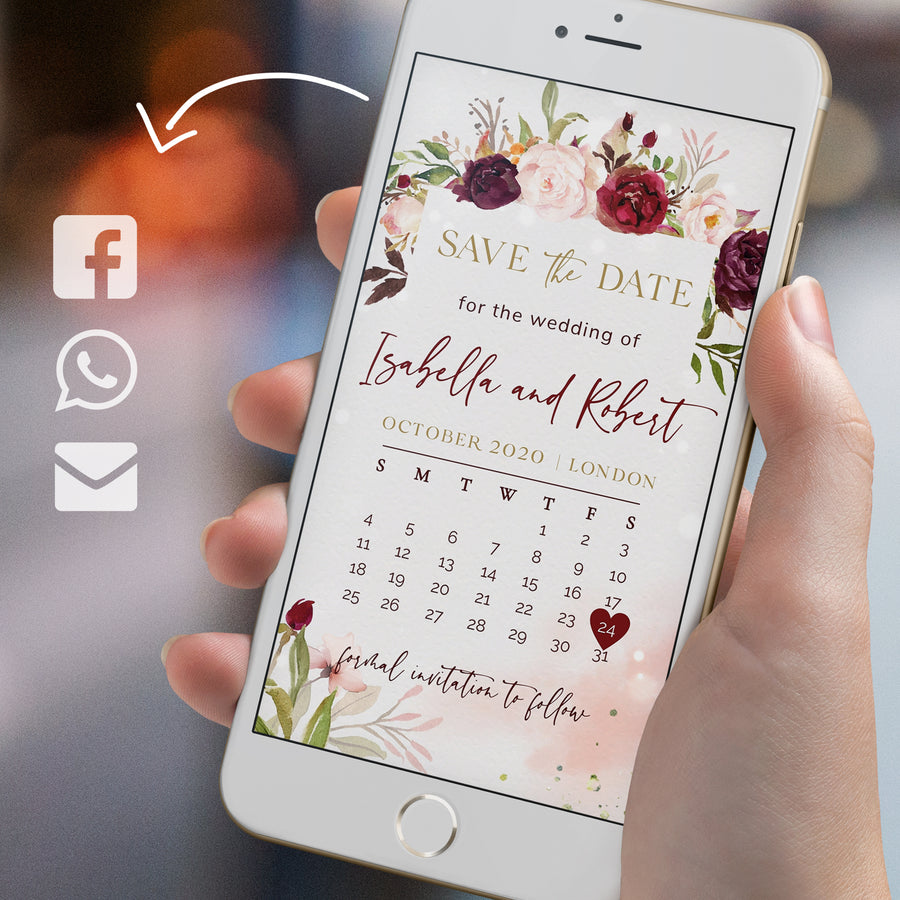 marsala calendar save the date electronic invitation