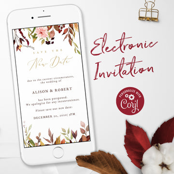 Autumn Theme Wedding Date Change Evite