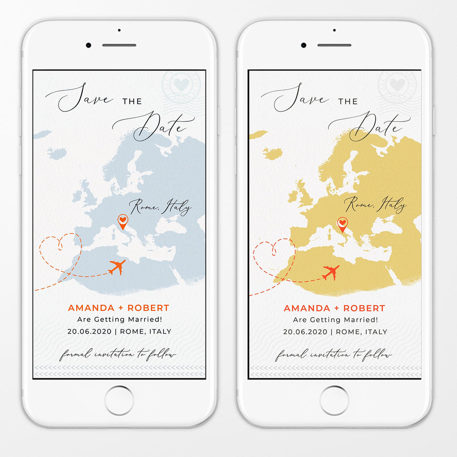 Destination Wedding Save the Date Electronic Invitation
