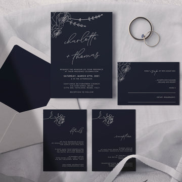 Rosa | Minimalist Wedding Invitation Set Template