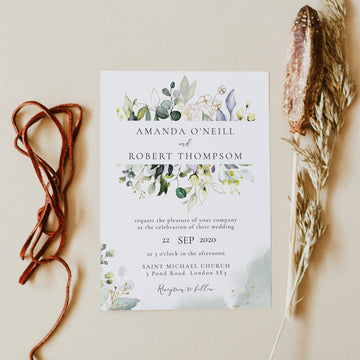 Flora | Rustic Wedding Invitation Card Template