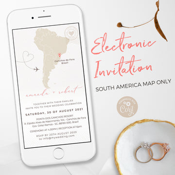 South America Map Travel Theme Wedding Evite