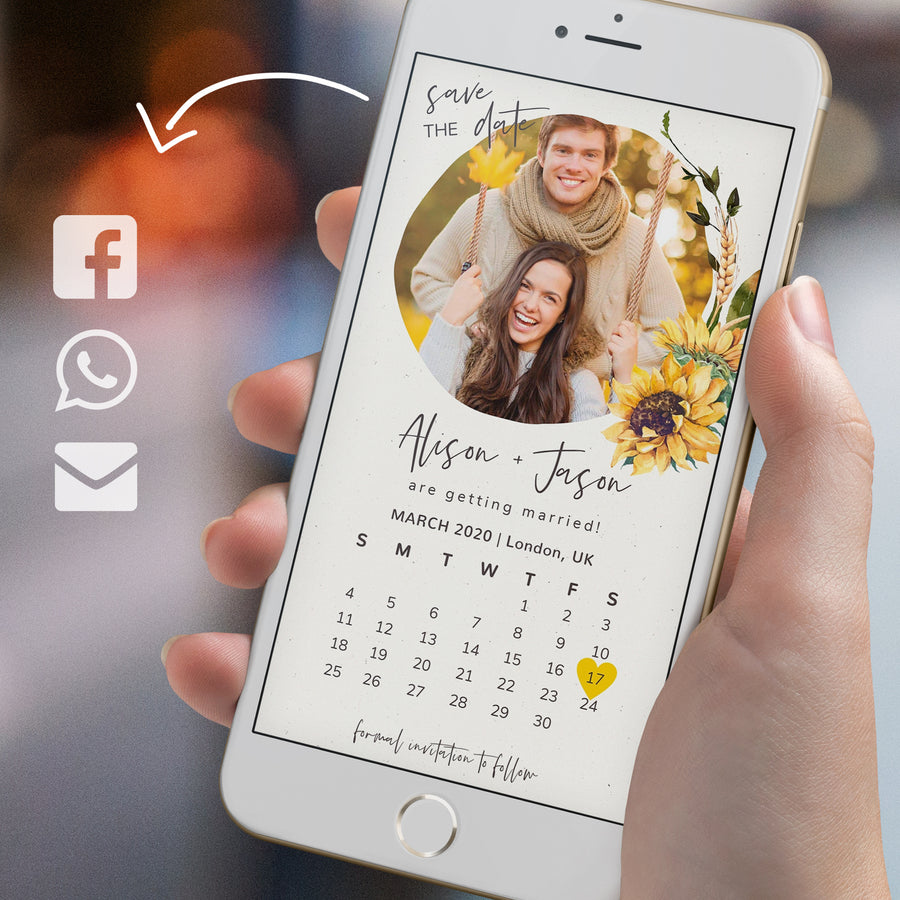Sunflowers Save the Date with Calendar Evite