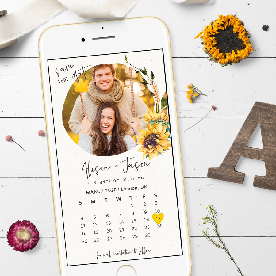 Sunflowers Save the Date with Calendar