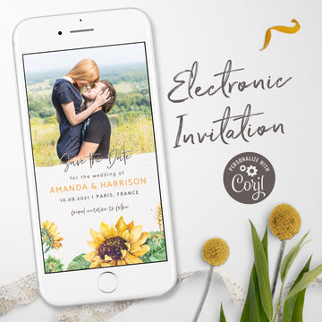 Photo Save the Date with Sunflowers - Digital invitation