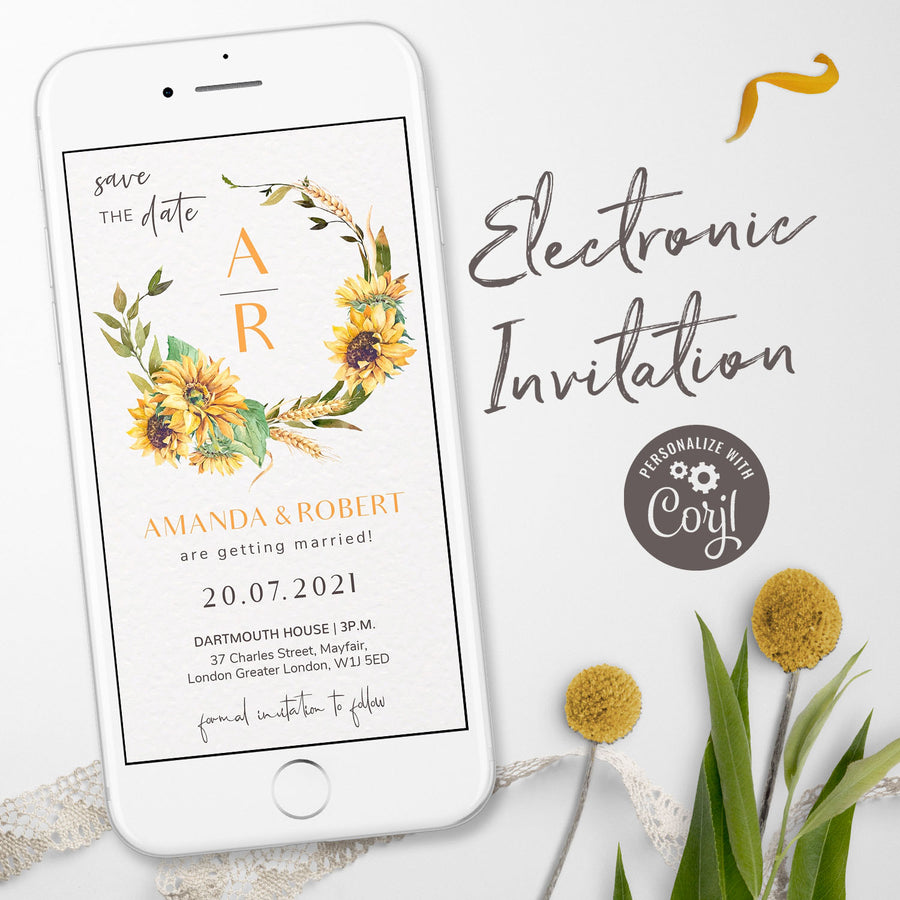 Sunflowers Save the Date Digital Invitation