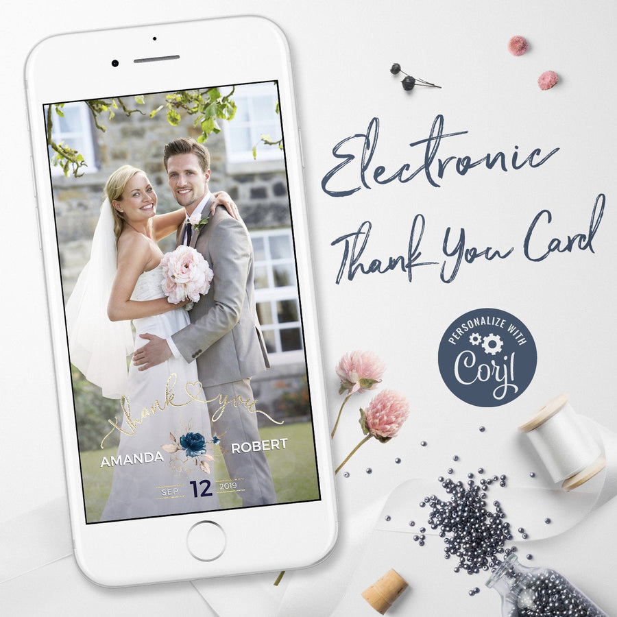 Digital Wedding Thank You Cards with Photo
