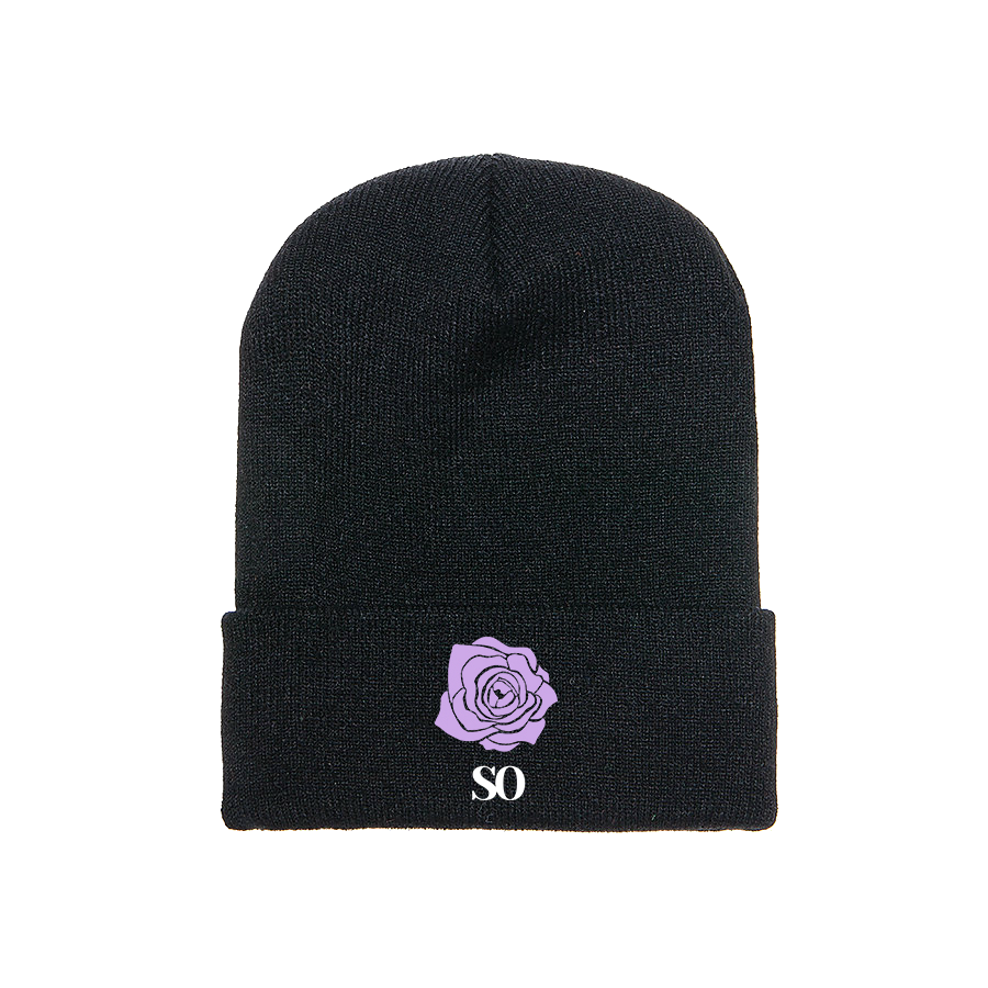 Wild Rose Embroidered Beanie