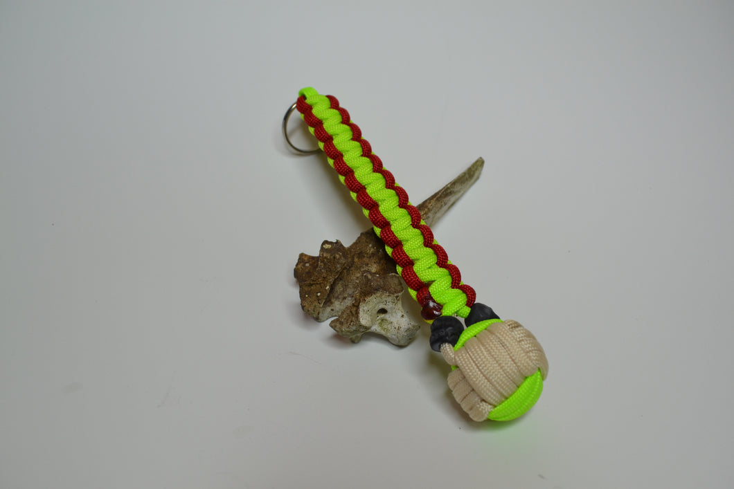 Neon Green Red and Tan Flat Braid Keychain