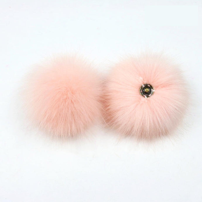 faux fur pom pom - light pink | extras