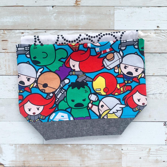 kawaii avengers | small drawstring project bag