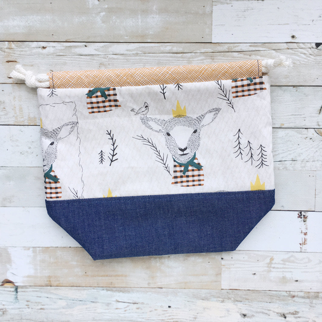 lamb | small drawstring project bag