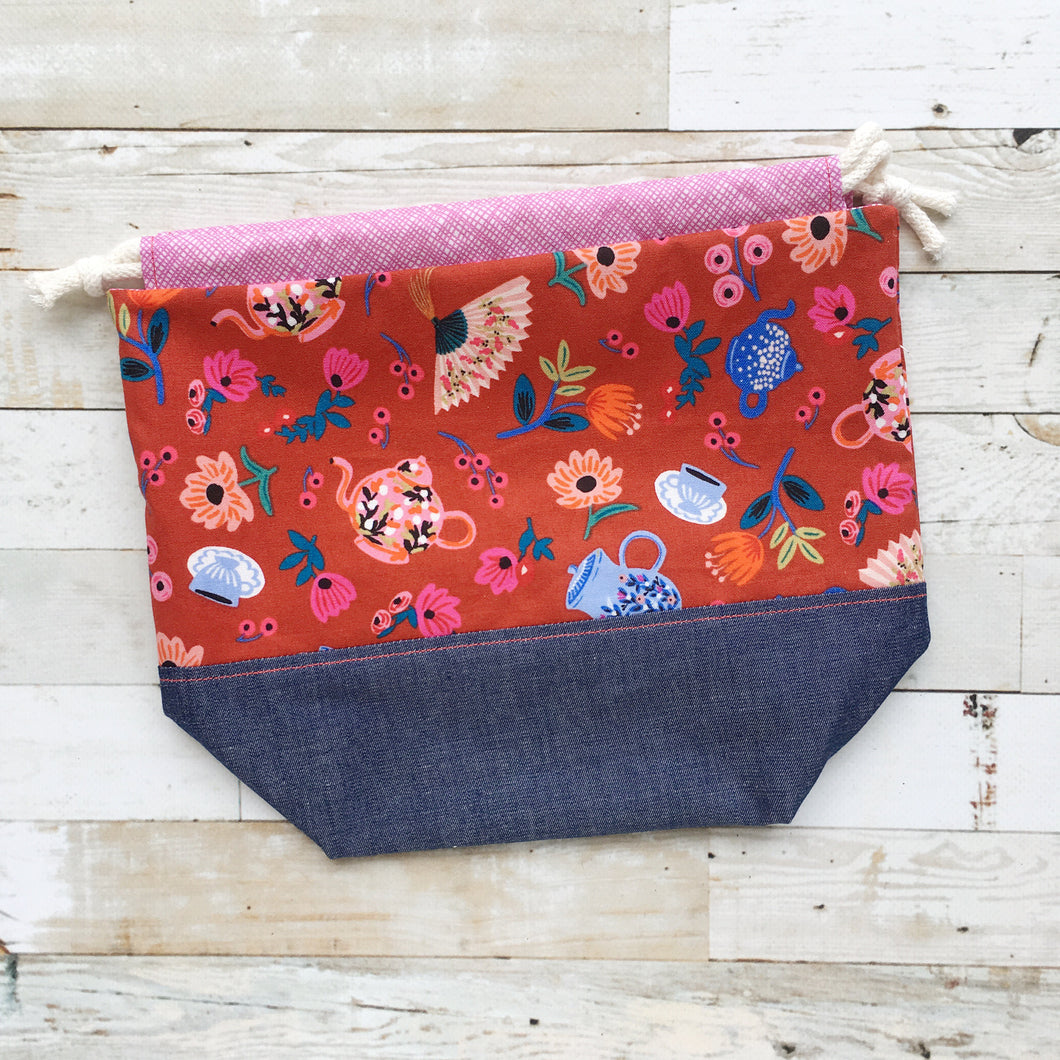 mad tea party | small drawstring project bag