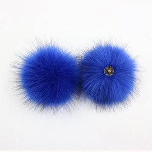 faux fur pom pom - bright blue | extras