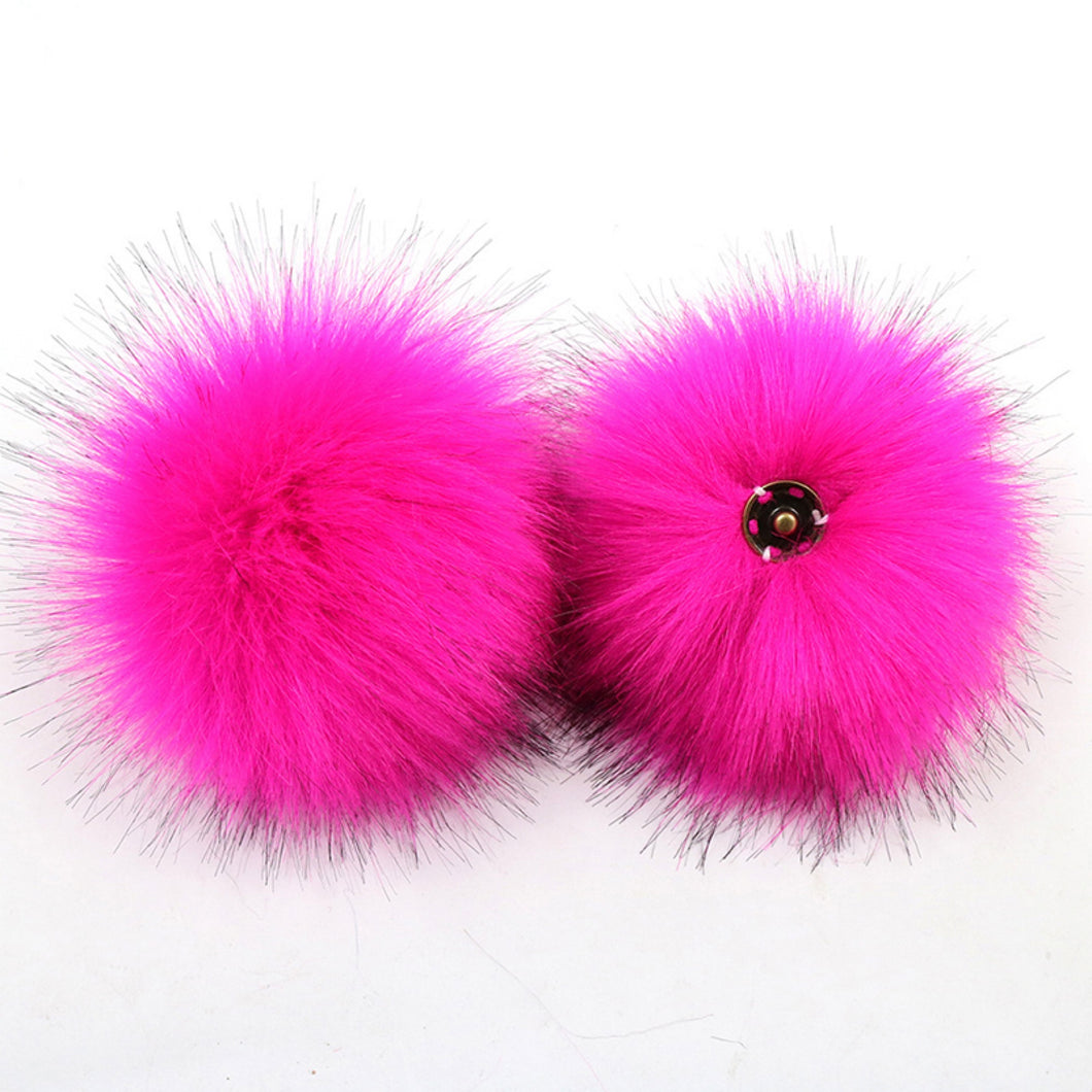 faux fur pom pom - hot pink | extras