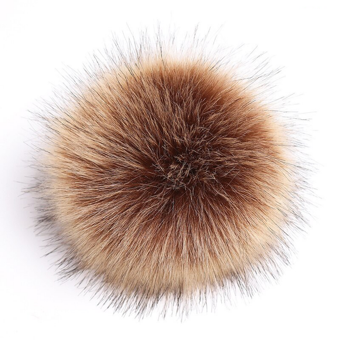 faux fur pom pom - brown | extras