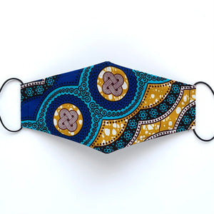 African Wax Block Print blue/teal/mustard - E | masks