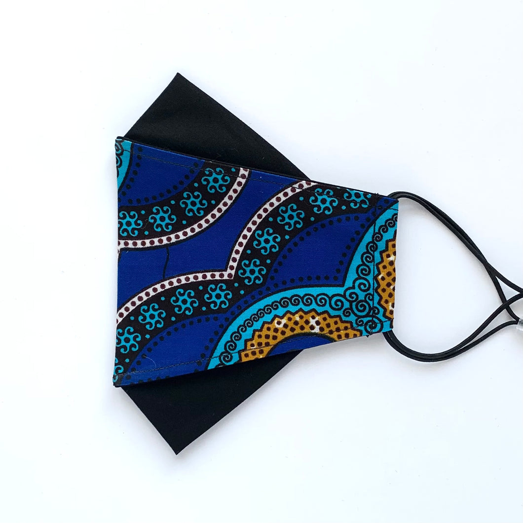 African Wax Block Print blue/teal/mustard - D | masks