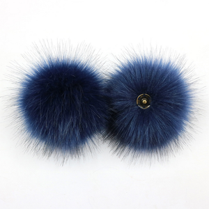 faux fur pom pom - navy blue | extras