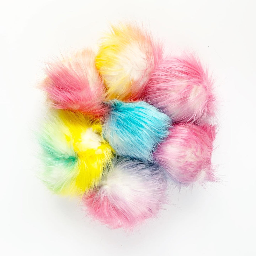 faux fur pom pom - rainbow (large) | extras
