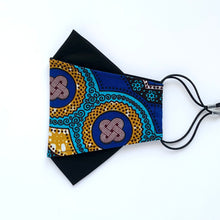 Load image into Gallery viewer, African Wax Block Print blue/teal/mustard - C | masks