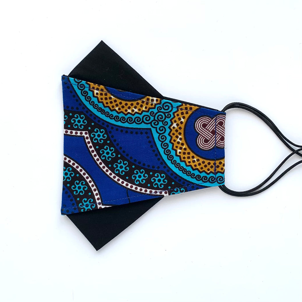 African Wax Block Print blue/teal/mustard - F | masks