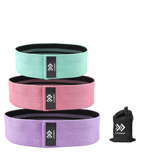 LIFEWAY Resistance Bands for Legs and Butt - Booty Bands Set - 3 Packs with Carrying Bag