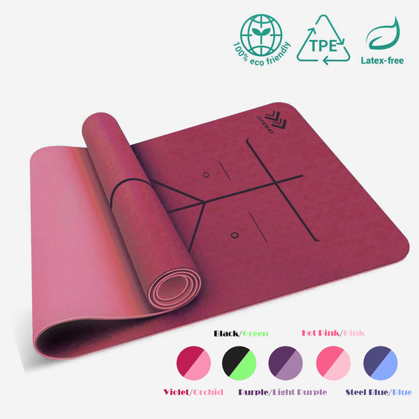 LIFEWAY Yoga Mat - 6mm Thick High Density Non-Slip Double-Sided TPE Yoga Mat with Carrying Strap - Size: 183mm x 61mm