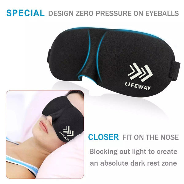 LIFEWAY Sleep Mask for Men & Women - 3D Eye Mask with Ear Plugs and Travel Pouch