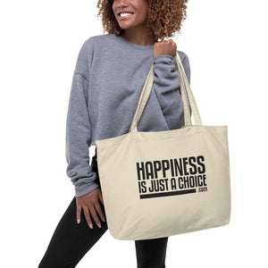 "Original ""Happiness is just a choice.com"" Large organic tote bag"