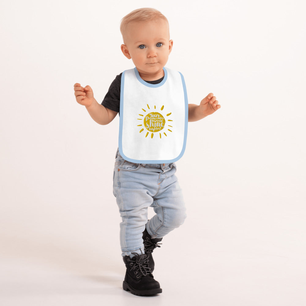 Your Presence Makes the World Shine - Embroidered Baby Bib