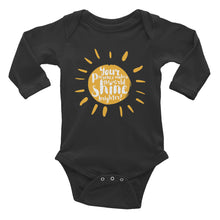 "Load image into Gallery viewer, ""Your presence make the world shine brighter"" Infant Long Sleeve Bodysuit"