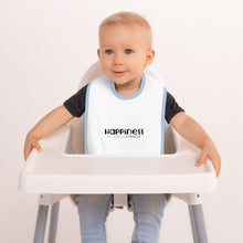 "Load image into Gallery viewer, ""Happiness is just a choice"" Blue Embroidered Baby Bib"