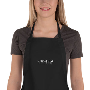 """Happiness is just a choice"" White on Black Embroidered Apron"