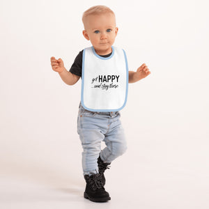 """Get happy stay there""  Blue Embroidered Baby Bib"