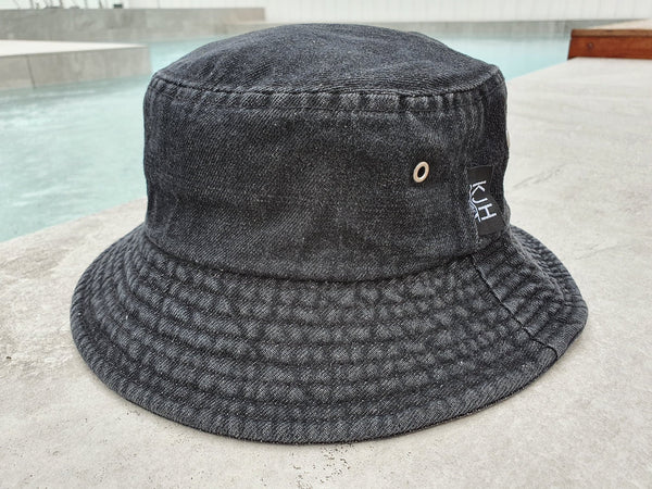 'THE BRUNSWICK' Bucket Hat - Black Stonewash