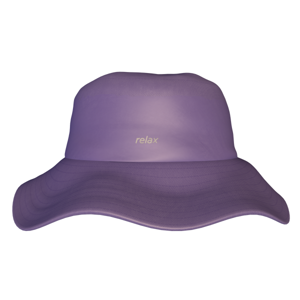 PURPLE BUCKET HAT WITH THE PHRASE RELAX EMBROIDERED ON THE FRONT