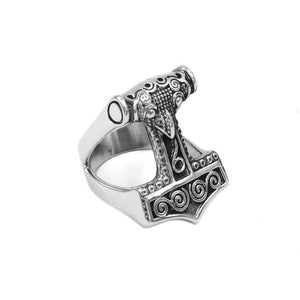 "Ring ""Thorshammer"" silbern Unisex"
