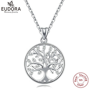 EUDORA 100% 925 Sterling Silver Tree of life Pendant Necklaces with AAA Zircon Women Fashion Jewelry Gift For girl Birthday D170