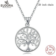 Laden Sie das Bild in den Galerie-Viewer, EUDORA 100% 925 Sterling Silver Tree of life Pendant Necklaces with AAA Zircon Women Fashion Jewelry Gift For girl Birthday D170